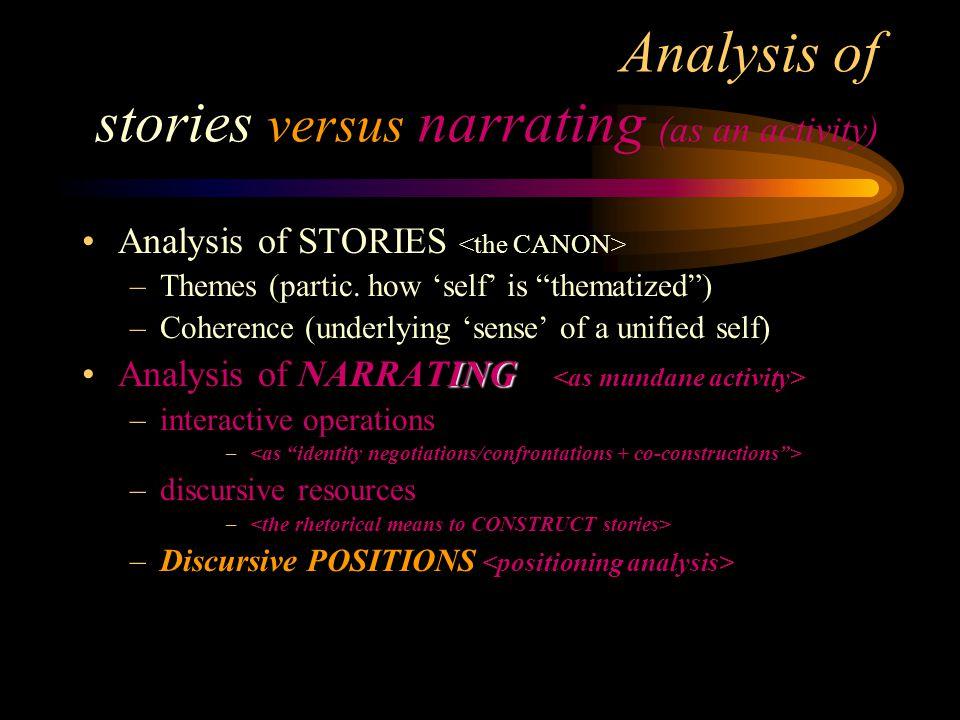 Analysis of stories versus narrating (as an activity)