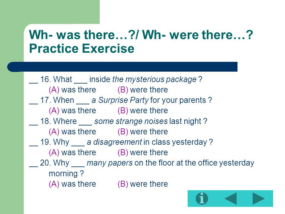Wh- was there… / Wh- were there… Practice Exercise