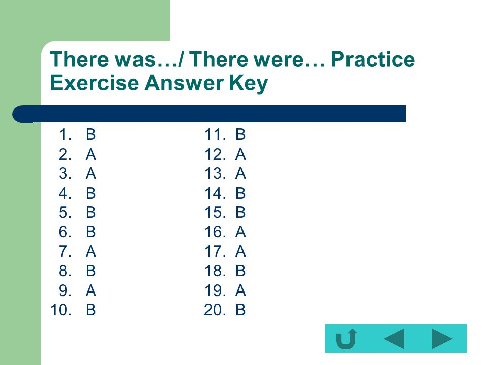 There was…/ There were… Practice Exercise Answer Key