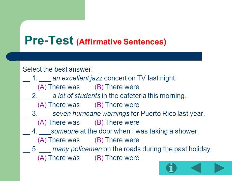 Pre-Test (Affirmative Sentences)
