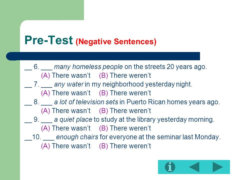 Pre-Test (Negative Sentences)
