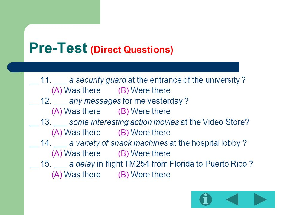 Pre-Test (Direct Questions)