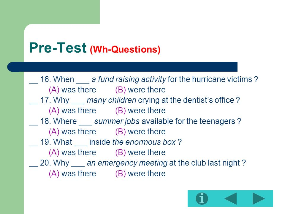 Pre-Test (Wh-Questions)