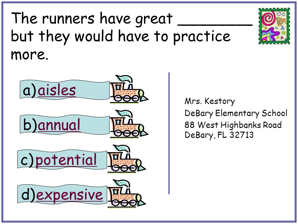 The runners have great ________ but they would have to practice more.