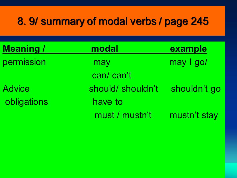 8. 9/ summary of modal verbs / page 245