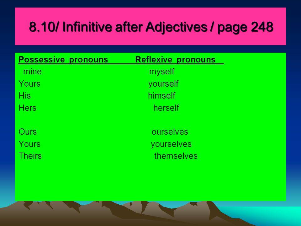 8.10/ Infinitive after Adjectives / page 248