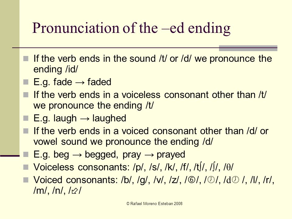 Pronunciation of the –ed ending