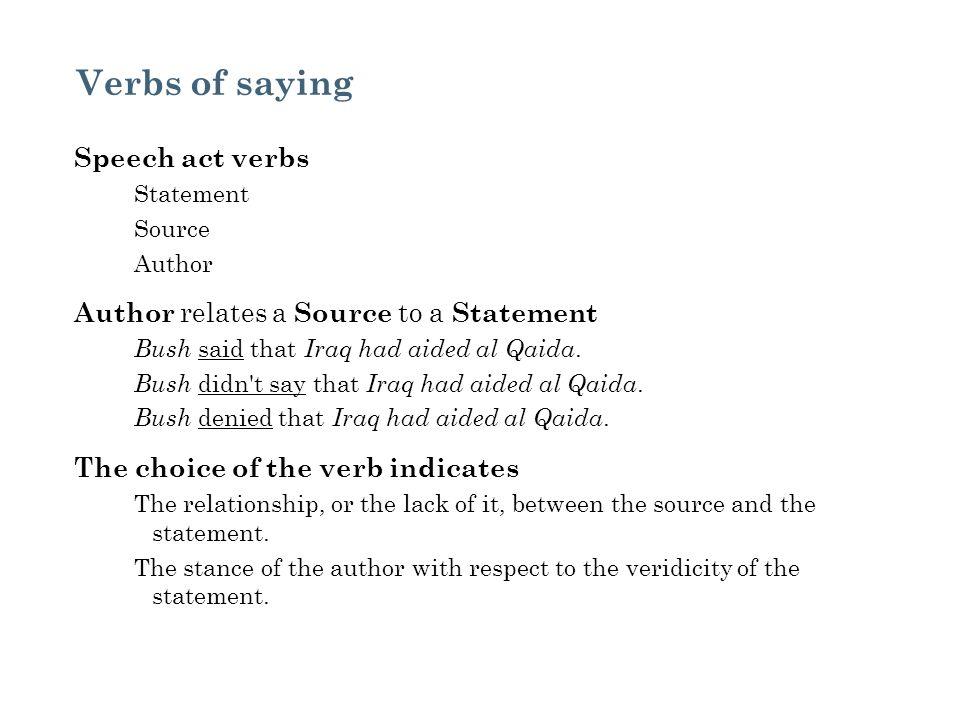 Verbs of saying Speech act verbs