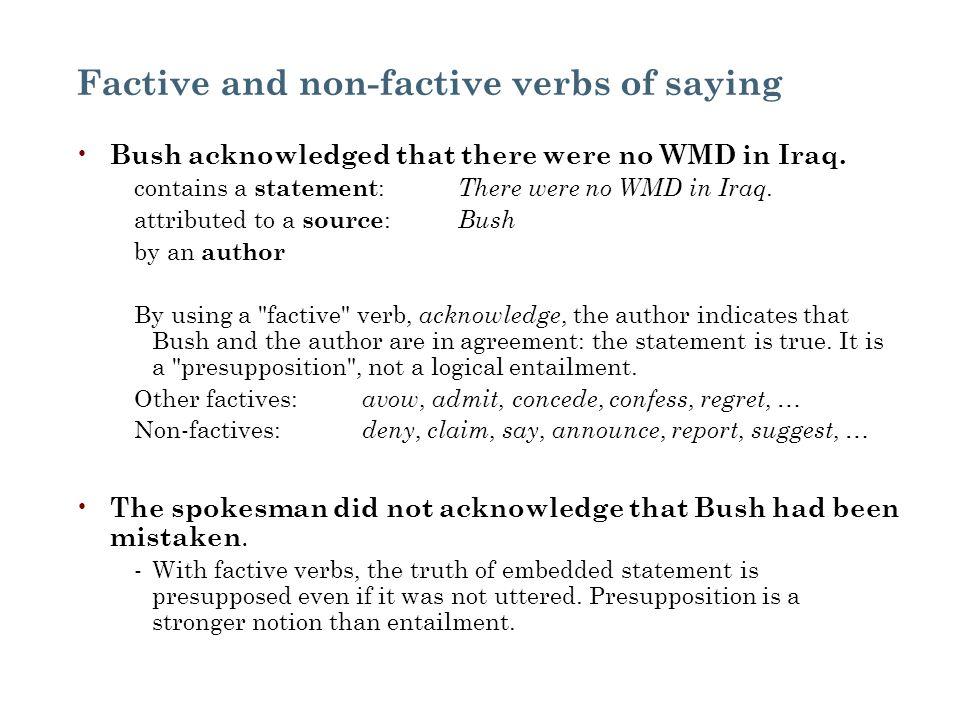 Factive and non-factive verbs of saying