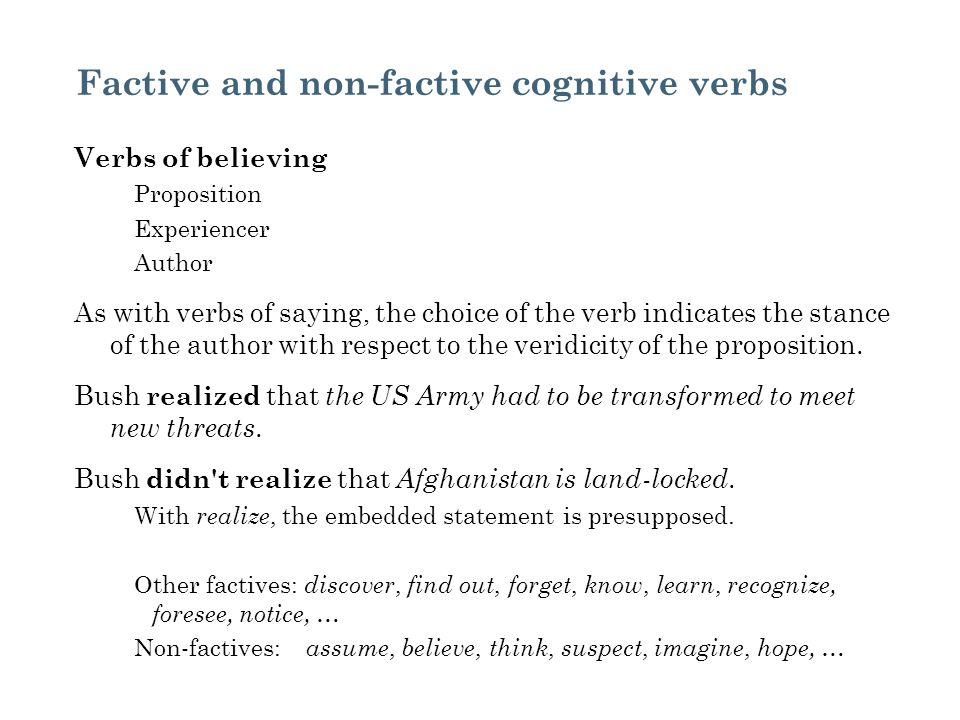 Factive and non-factive cognitive verbs