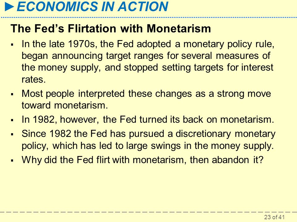 The Fed's Flirtation with Monetarism