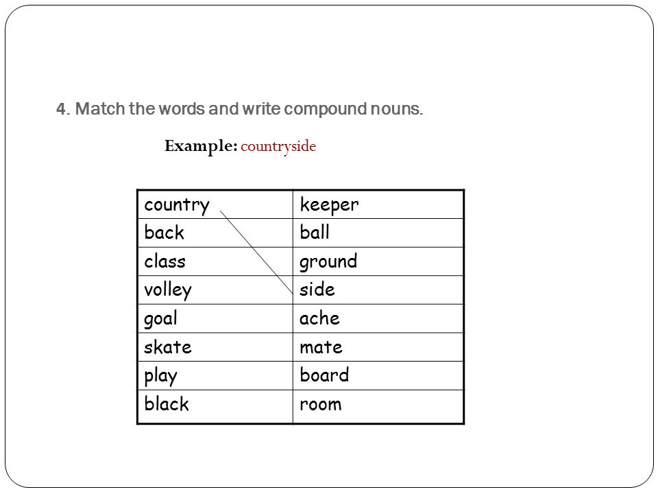 4. Match the words and write compound nouns.