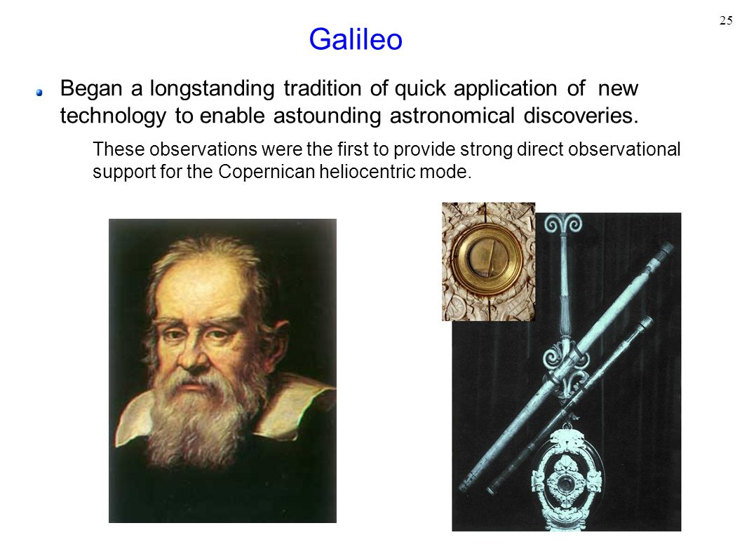 Galileo Began a longstanding tradition of quick application of new technology to enable astounding astronomical discoveries.