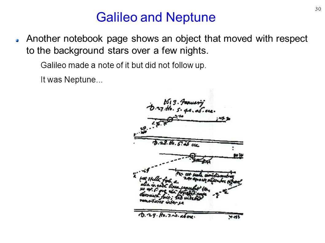 Galileo and Neptune Another notebook page shows an object that moved with respect to the background stars over a few nights.