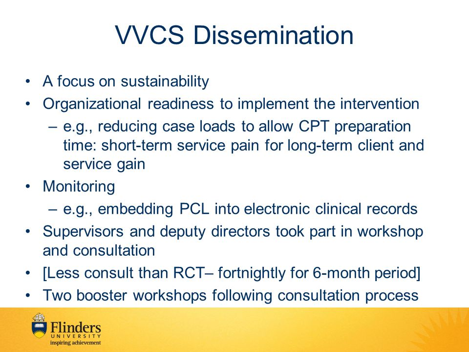 VVCS Dissemination A focus on sustainability