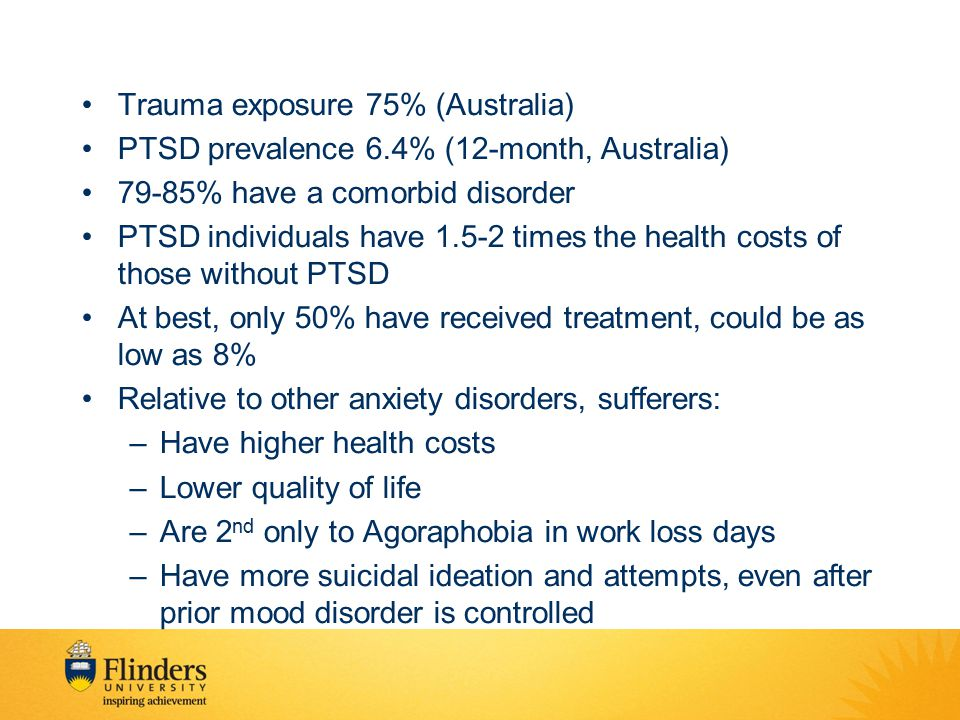 Trauma exposure 75% (Australia)