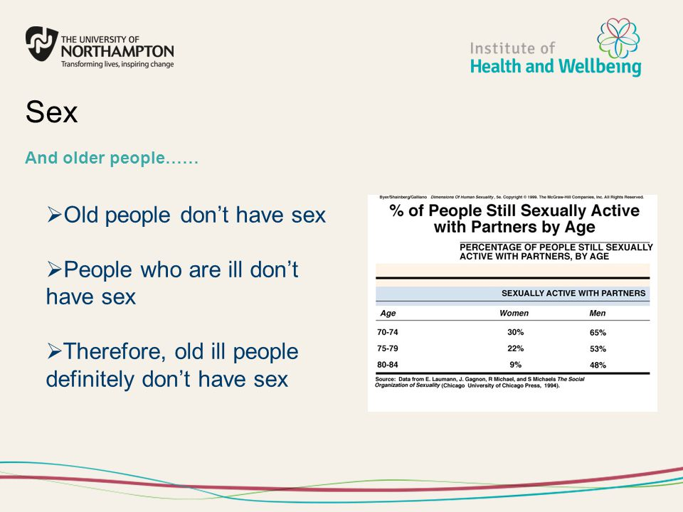 Sex Old people don't have sex People who are ill don't have sex