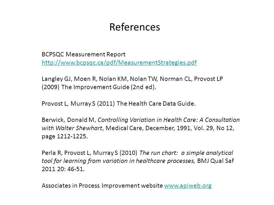 References BCPSQC Measurement Report