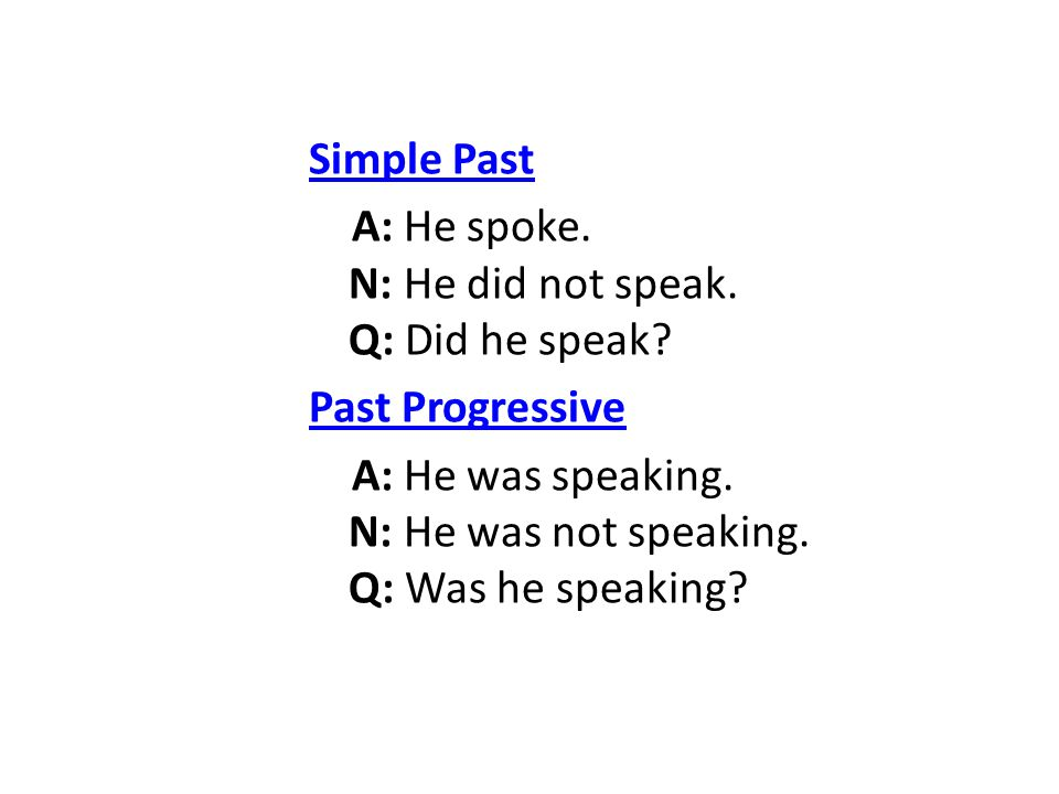 Simple Past A: He spoke. N: He did not speak. Q: Did he speak