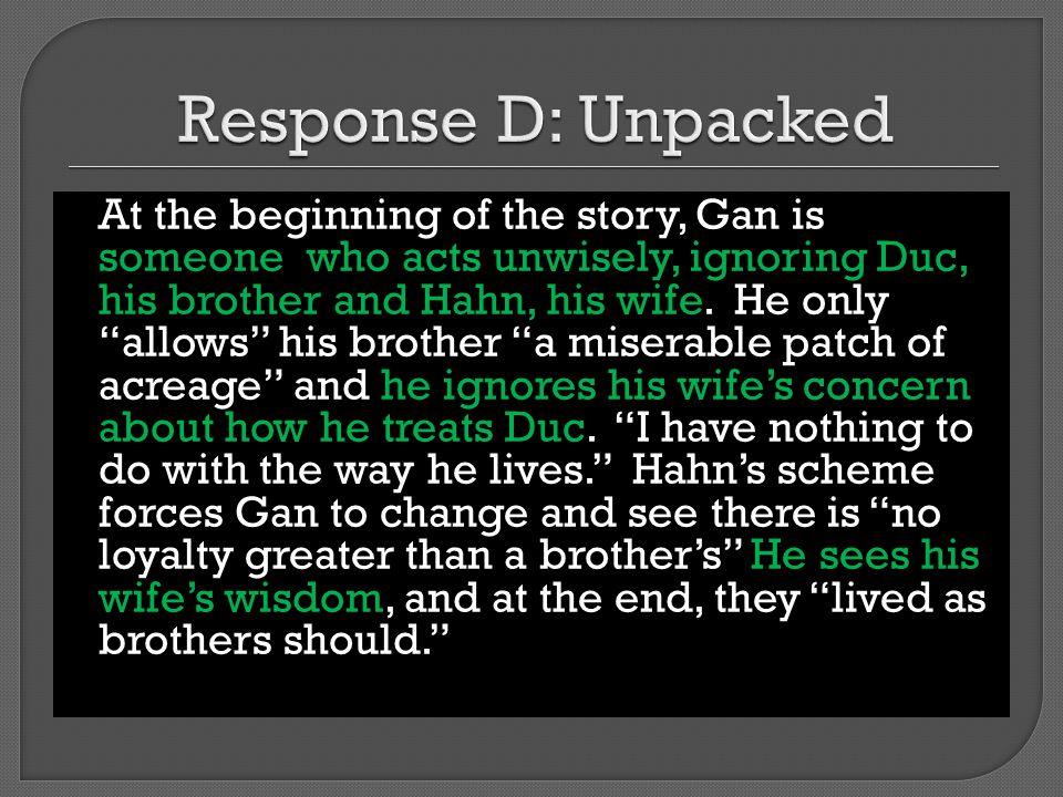 Response D: Unpacked