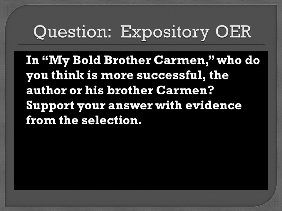 Question: Expository OER