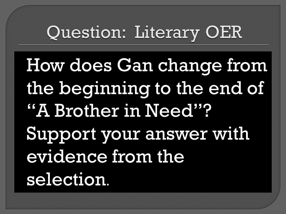 Question: Literary OER