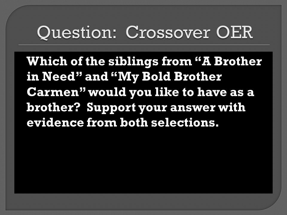 Question: Crossover OER