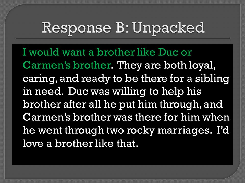Response B: Unpacked