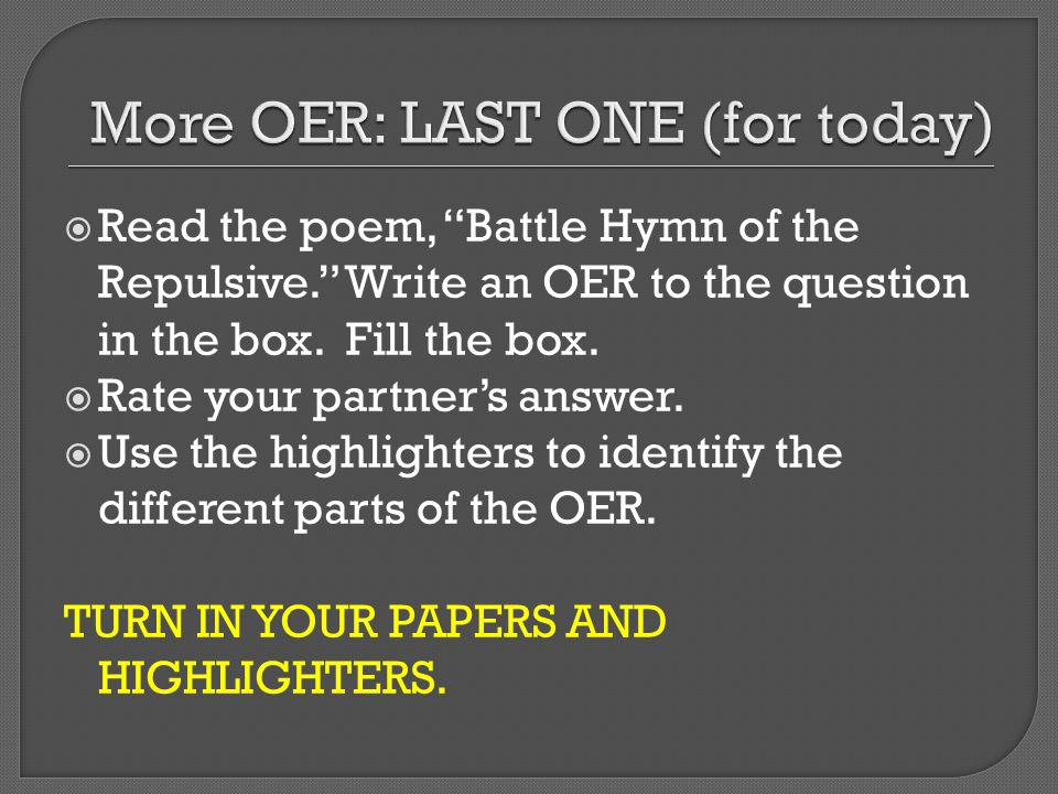 More OER: LAST ONE (for today)