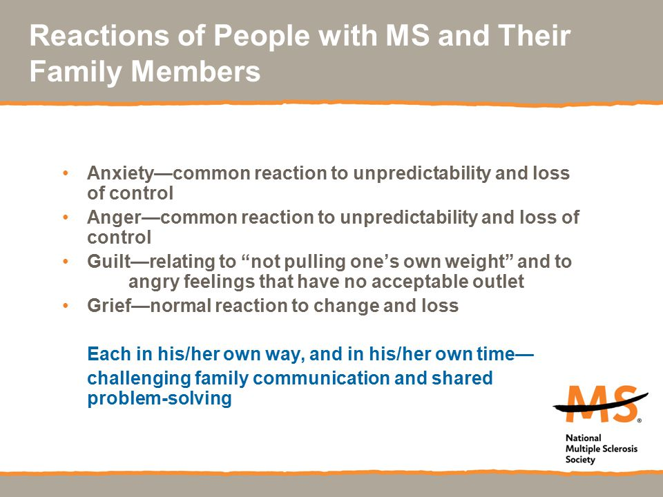 Reactions of People with MS and Their Family Members