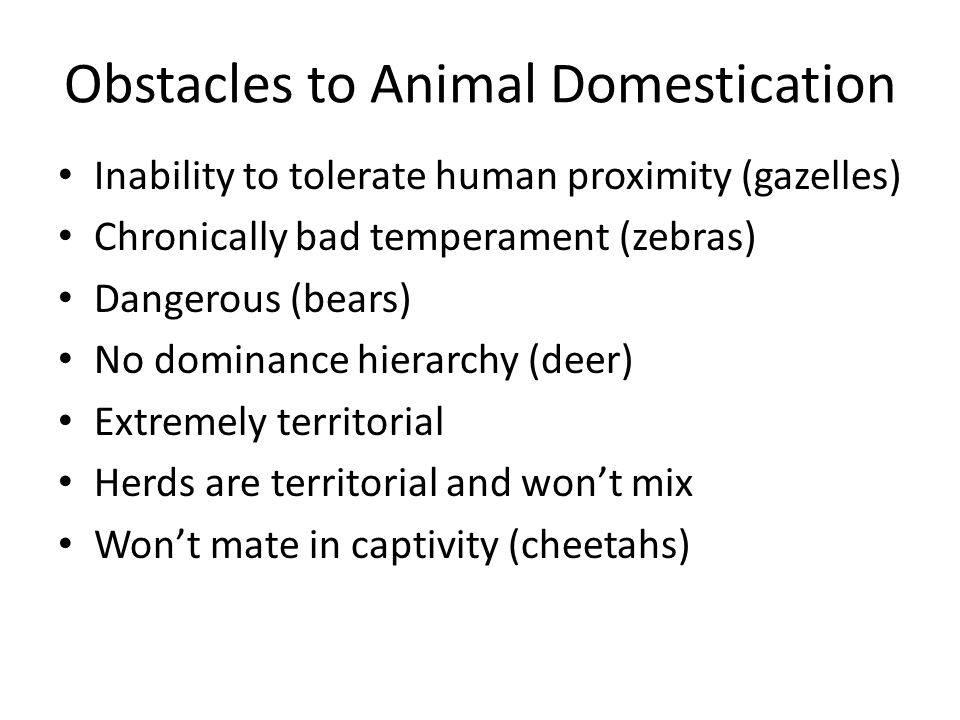 Obstacles to Animal Domestication