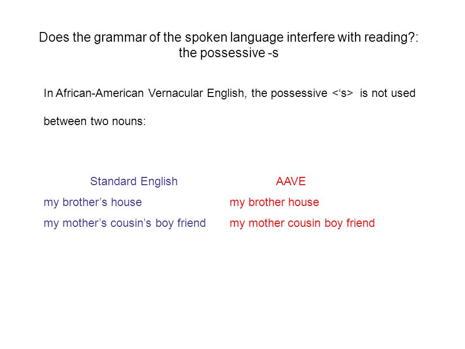 Does the grammar of the spoken language interfere with reading