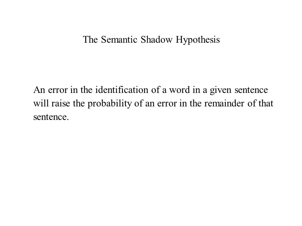The Semantic Shadow Hypothesis