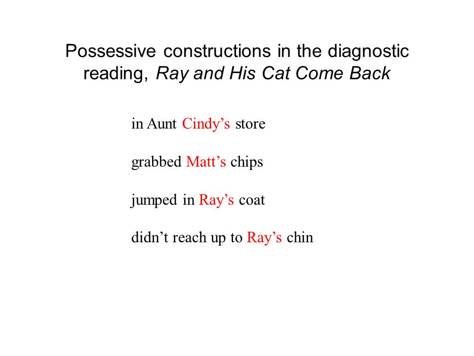 Possessive constructions in the diagnostic reading, Ray and His Cat Come Back