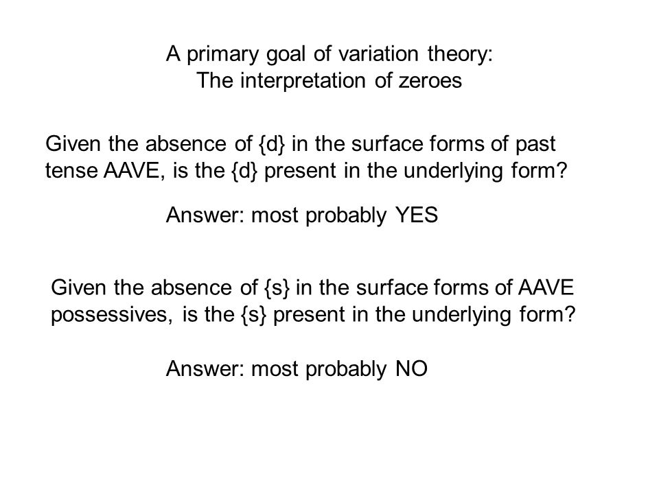 A primary goal of variation theory: The interpretation of zeroes