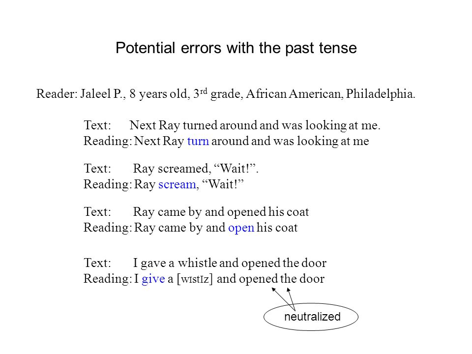 Potential errors with the past tense