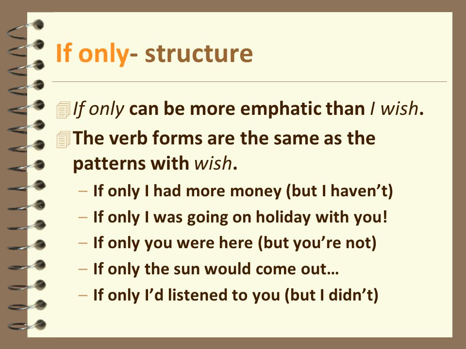 If only- structure If only can be more emphatic than I wish.