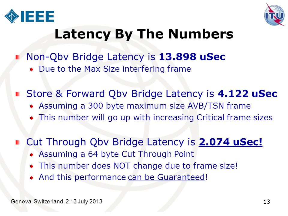Latency By The Numbers Non-Qbv Bridge Latency is 13.898 uSec