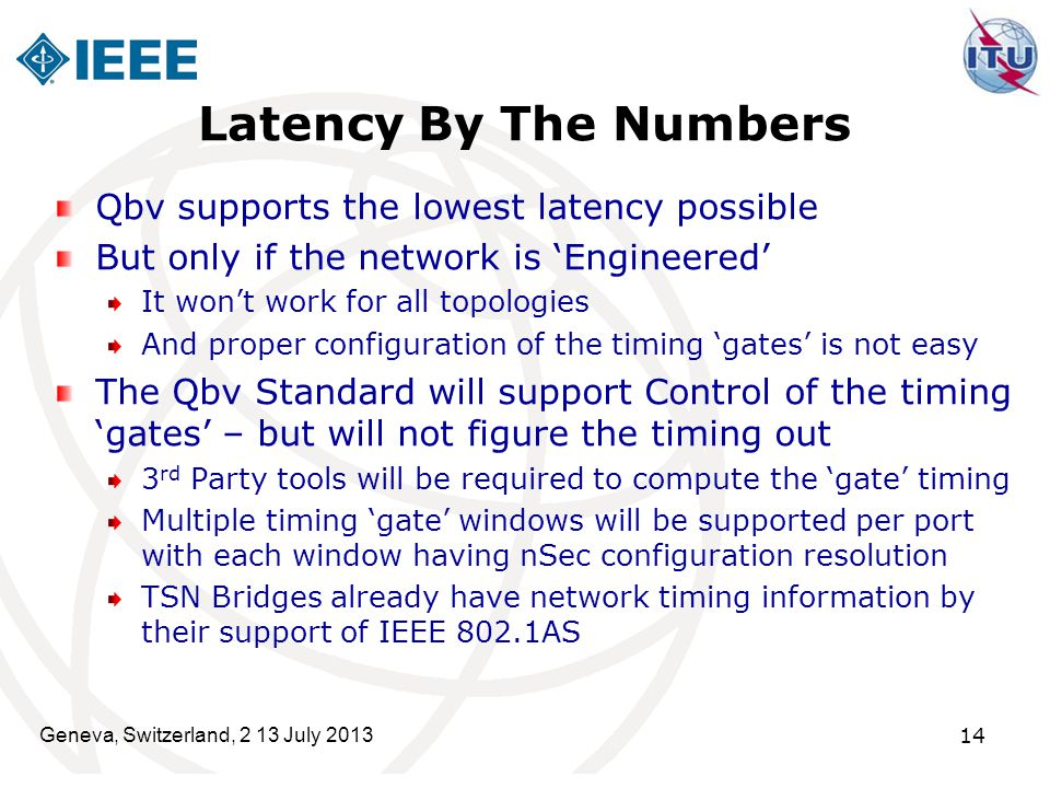 Latency By The Numbers Qbv supports the lowest latency possible