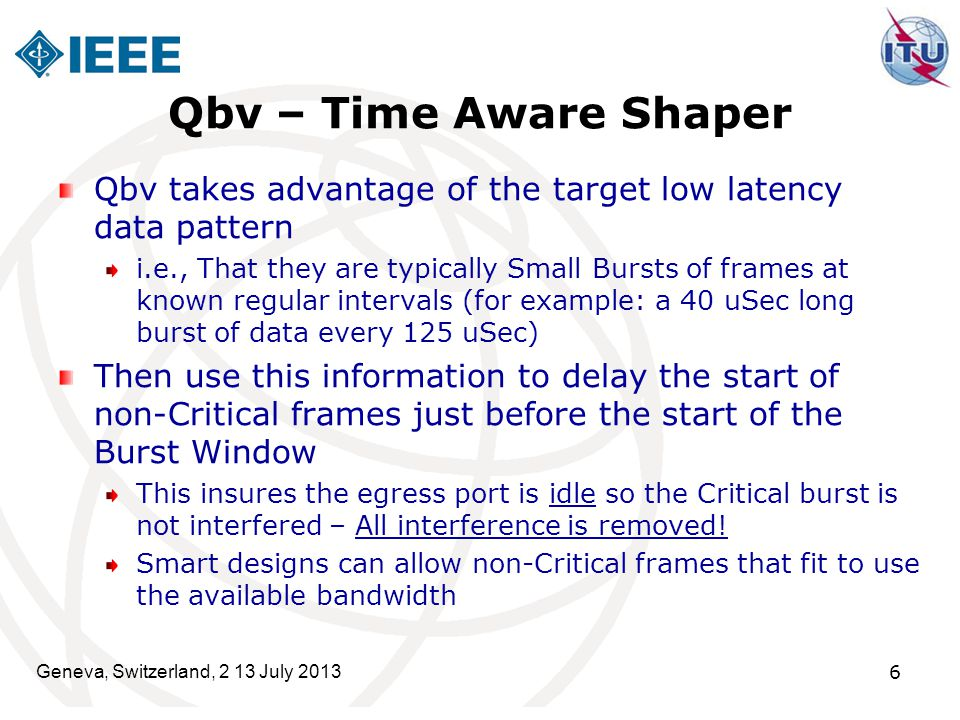 Qbv – Time Aware Shaper Qbv takes advantage of the target low latency data pattern.