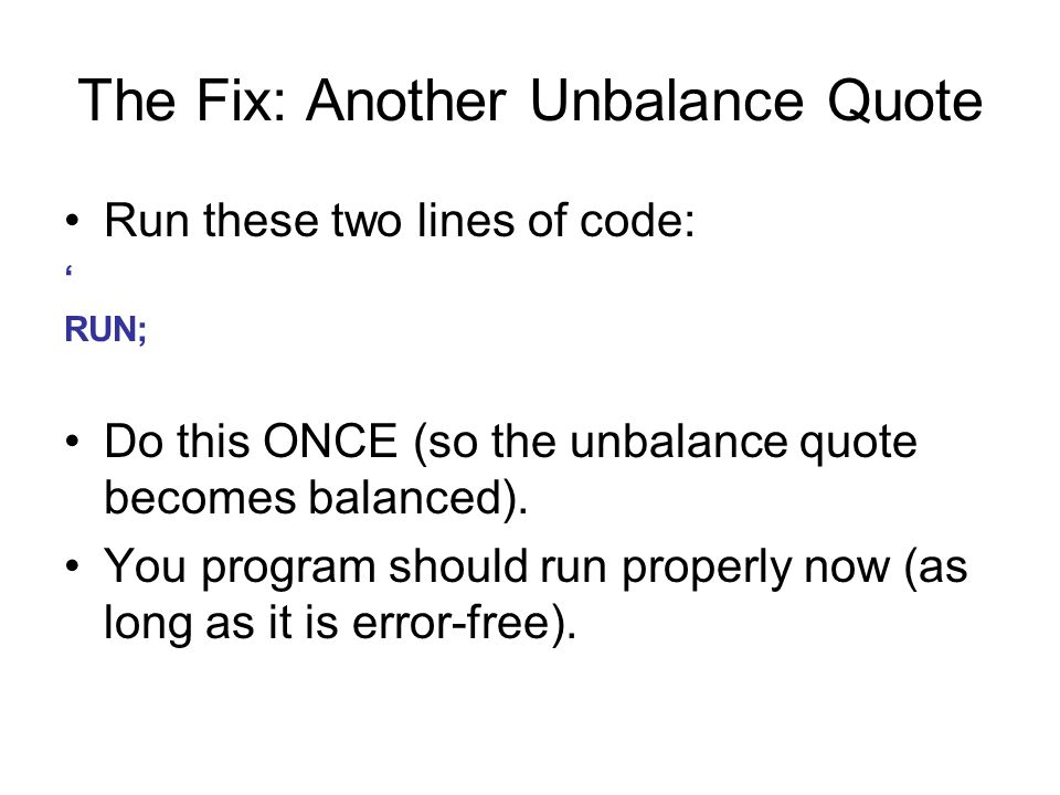 The Fix: Another Unbalance Quote