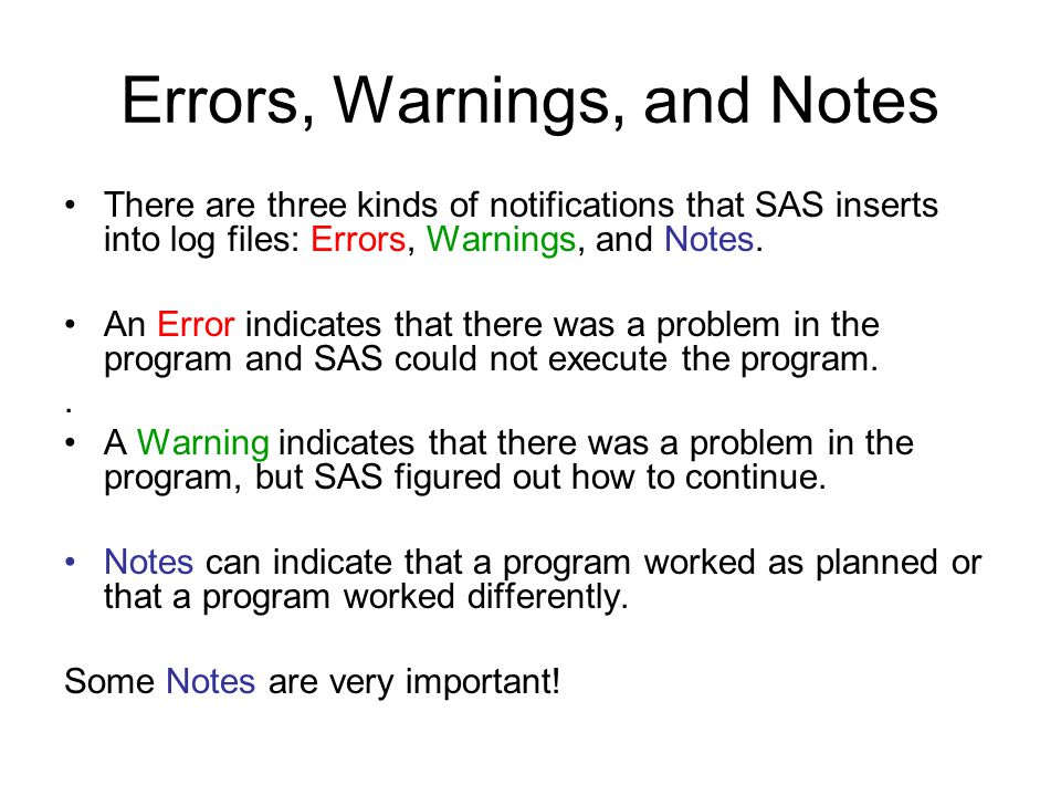 Errors, Warnings, and Notes