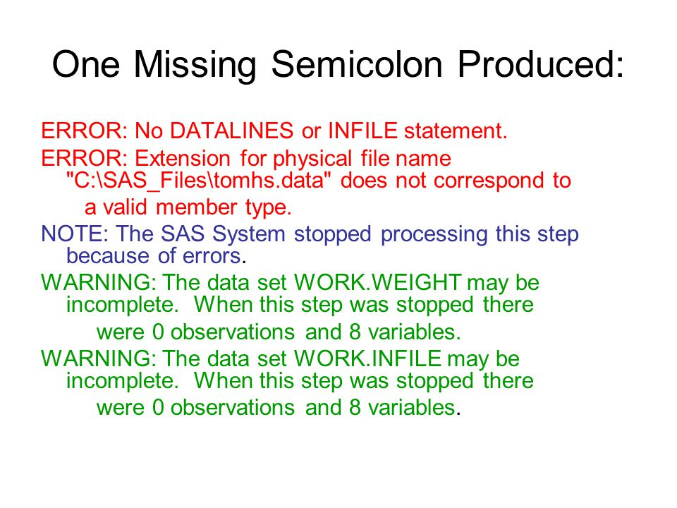 One Missing Semicolon Produced: