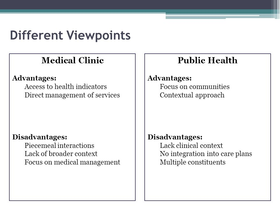 Different Viewpoints Medical Clinic Public Health Advantages: