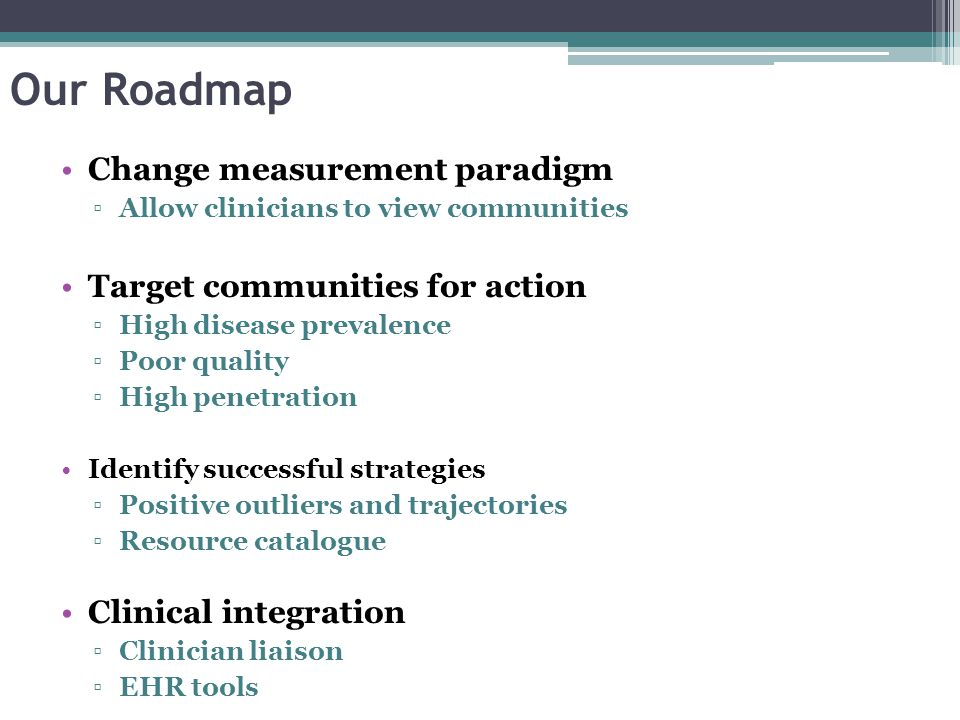 Our Roadmap Change measurement paradigm Target communities for action