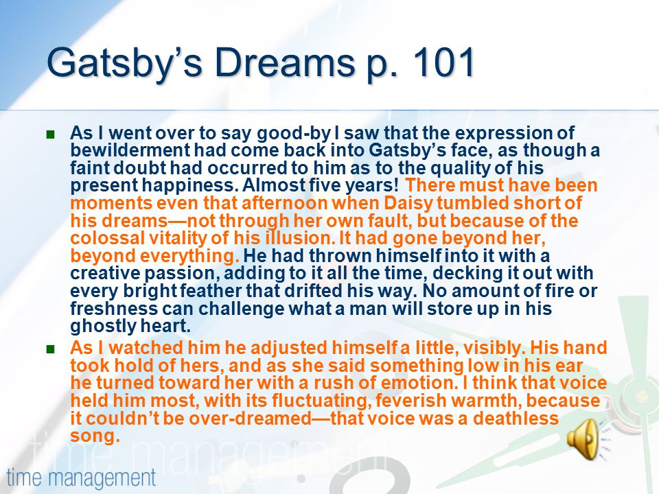 Gatsby's Dreams p. 101