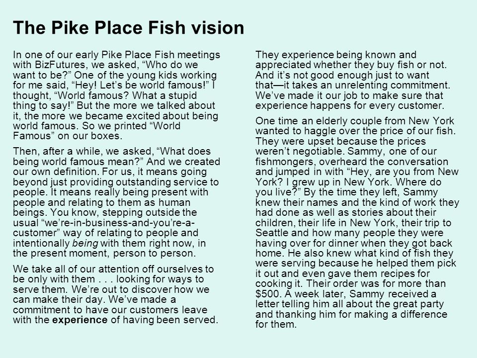 The Pike Place Fish vision