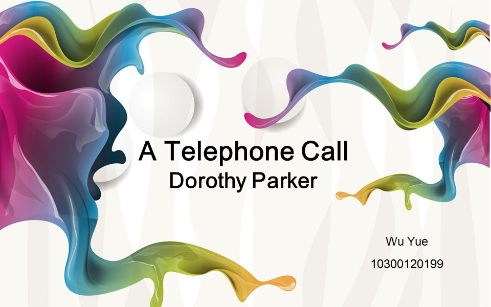 essays telephone call dorothy parker Dorothy parker complete broadway all of mrs parker's most famous writing is presented here a telephone call by dorothy parker travelman publishing.