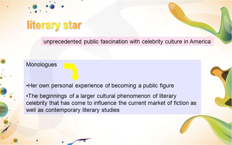 literary star unprecedented public fascination with celebrity culture in America. Monologues.