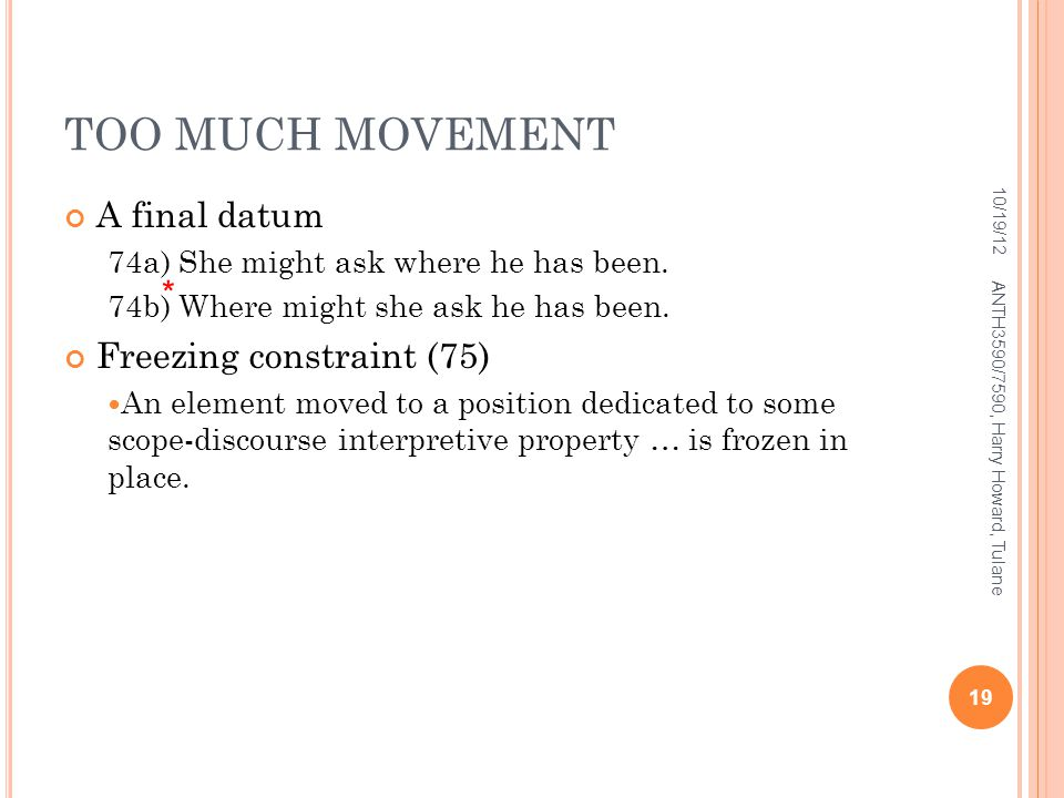 TOO MUCH MOVEMENT A final datum Freezing constraint (75) *